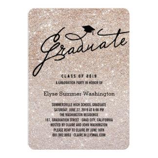 Glitter Stylish Graduate Graduation Party Invite