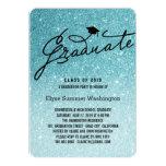 """Glitter Stylish Graduate Graduation Party Invite 5"""" X 7"""" Invitation Card"""