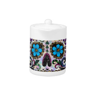 glitter Sugar Skull Teapot