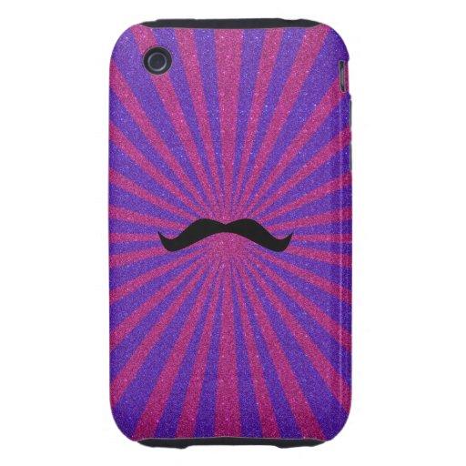 Glitter sunburst mustache tough iPhone 3 covers