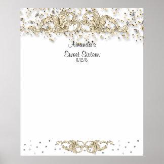 Glitter, Sweet Sixteen, Bat Mitzvah Sign in Board Print