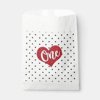 Glitter Sweetheart Valentines Girl First Birthday Favor Bag
