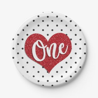 Glitter Sweetheart Valentines Girl First Birthday Paper Plate