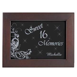 Glitter Swirl Sweet Sixteen Personalized Keepsake Box