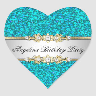 Glitter Teal Birthday Party Gold Jewel Diamond Heart Sticker