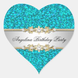Glitter Teal Birthday Party Gold Jewel Diamond Heart Sticker