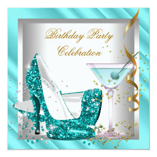 Glitter Teal Blue High Heel Shoes Gold Birthday 2 Invitation