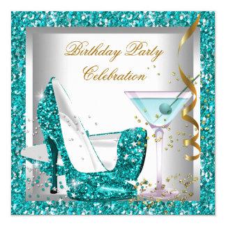 Glitter Teal Blue High Heel Shoes Gold Martini Invitation