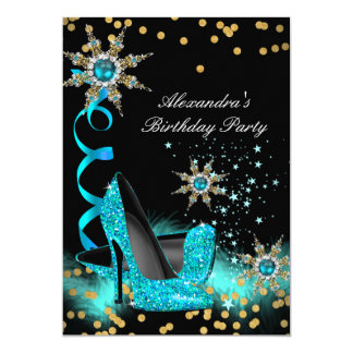 Glitter Teal Blue High Heels Black Birthday Party Card
