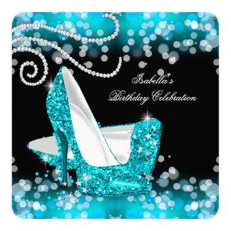 Glitter Teal Blue High Heels Diamonds Birthday Card