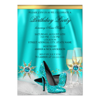 Glitter Teal Blue High Heels Gold Champagne Party Card
