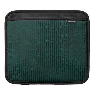 Glitter teal green stripes iPad sleeve