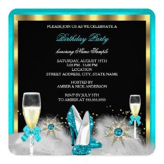 Glitter Teal High Heels Black Gold Champagne Card