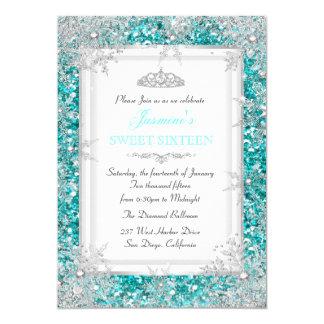 Glitter Teal Silver Winter Wonderland Sweet 16 5x7 Paper Invitation Card