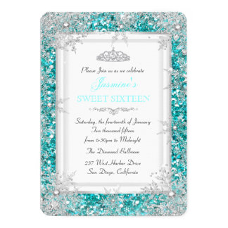 Glitter Teal Silver Winter Wonderland Sweet 16 Card