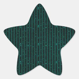 glitter teal stripes star sticker