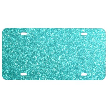 Beach Themed Glitter Template License Plate