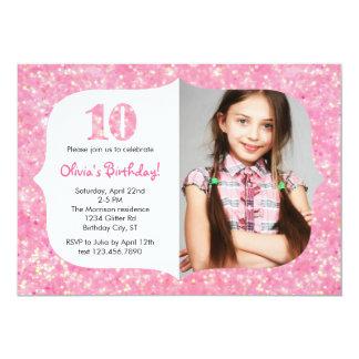 Glitter Tenth Birthday Invitation