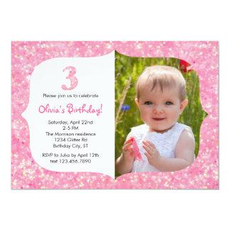 Glitter Third Birthday Invitation