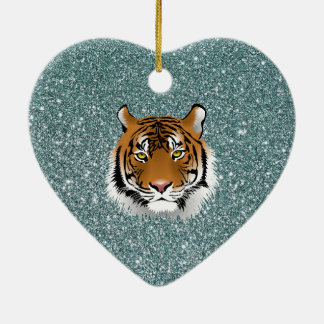 Glitter Tiger Ceramic Ornament