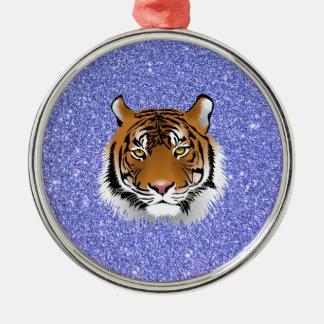 Glitter Tiger Metal Ornament