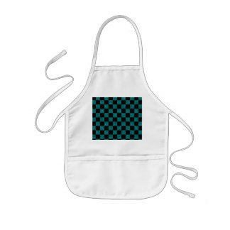 Glitter turquoise and black checkered pattern aprons