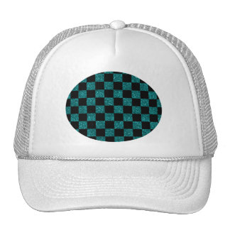 Glitter turquoise and black checkered pattern trucker hat