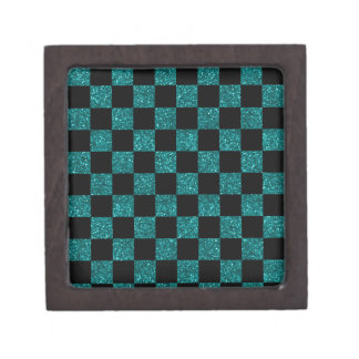 Glitter turquoise and black checkered pattern premium keepsake box