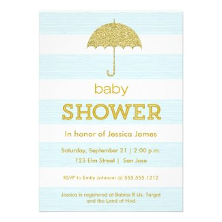 Glitter umbrella baby shower invitation