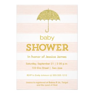 Glitter umbrella baby shower invitation - pink