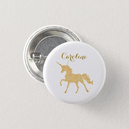 Glitter Unicorn Custom Name Button