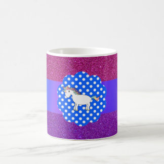 Glitter unicorn classic white coffee mug