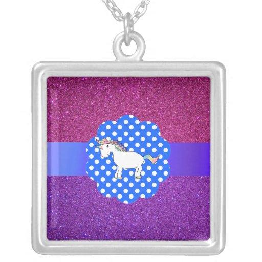 Glitter unicorn custom necklace