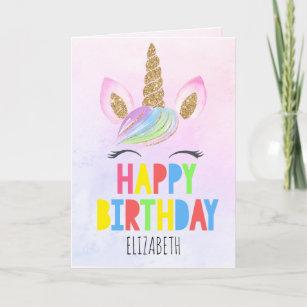 Glitter Unicorn Personalized Girl Happy Birthday Card