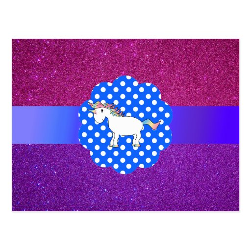 Glitter unicorn post card