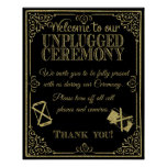 glitter Unplugged wedding sign no phones Poster