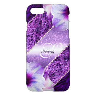 Glitter Violet Monogram iPhone 8/7 Case