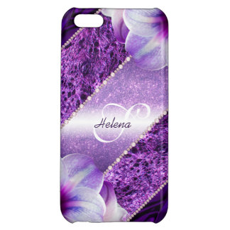 Glitter Violet Monogram Cover For iPhone 5C