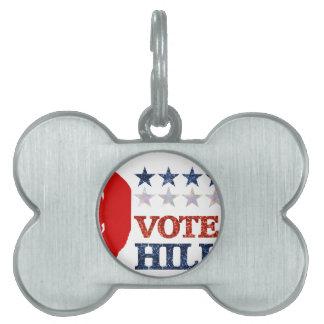 glitter vote hillary pet name tag