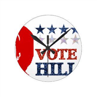 glitter vote hillary round clock