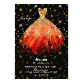 Glitter watercolor dresses card