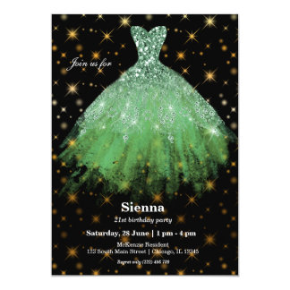 Glitter watercolor dresses card