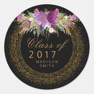 Glitter Watercolor Flower Gold Confetti Graduation Classic Round Sticker