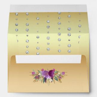 Glitter Watercolor Flowers Diamonds Gold Envelope