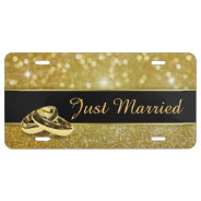 Glitter Wedding Rings - Just Married License Plate at Zazzle
