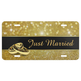 Glitter Wedding Rings - Just Married License Plate