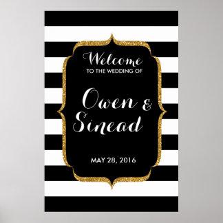 Glitter Wedding Sign on Black and White Stripes