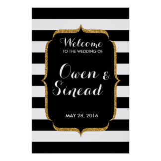 Glitter Wedding Sign on Black and White Stripes Poster