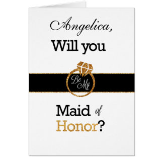Glitter Will You Be My Maid of Honor Invitation Greeting Card