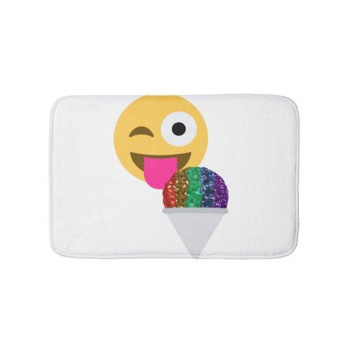 Glitter Wink Emoji Bathroom Bathmat Bath Mat